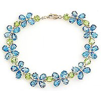 Blue Topaz and Peridot Blossom Bracelet in 9ct Gold