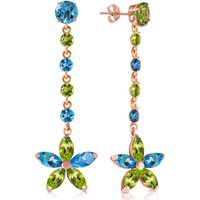 Blue Topaz and Peridot Daisy Chain Drop Earrings in 9ct Rose Gold