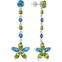 Blue Topaz and Peridot Daisy Chain Drop Earrings in 9ct White Gold