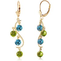 Blue Topaz & Peridot Dream Catcher Drop Earrings in 9ct Gold - Jewellery Gifts