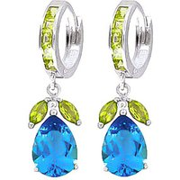 Blue Topaz and Peridot Huggie Drop Earrings in 9ct White Gold