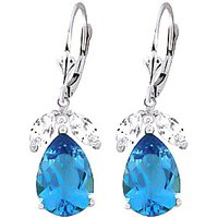 Blue Topaz and White Topaz Drop Earrings in 9ct White Gold