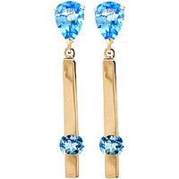 Blue Topaz Bar Drop Earrings 4.25 ctw in 9ct Gold - Jewellery Gifts