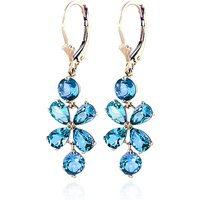Blue Topaz Blossom Drop Earrings 5.32 ctw in 9ct Gold - Jewellery Gifts