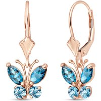 Blue Topaz Butterfly Drop Earrings 1.24 ctw in 9ct Rose Gold - Butterfly Gifts