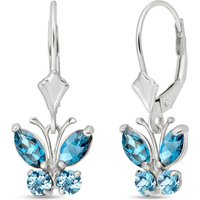 Blue Topaz Butterfly Drop Earrings 1.24 ctw in 9ct White Gold - Butterfly Gifts