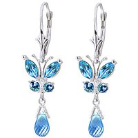 Blue Topaz Butterfly Drop Earrings 2.74 ctw in 9ct White Gold - Jewellery Gifts