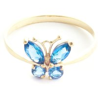 Blue Topaz Butterfly Ring 0.6 ctw in 9ct Gold - Fashion Gifts