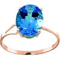 Blue Topaz Claw Set Ring 2.2 ct in 9ct Rose Gold - Ring Gifts