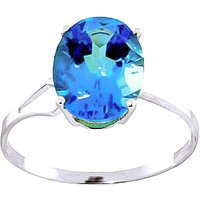 Blue Topaz Claw Set Ring 2.2 ct in 9ct White Gold - Ring Gifts