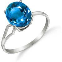 Blue Topaz Claw Set Ring 2.2 ct in 9ct White Gold - Fashion Gifts
