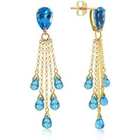 Blue Topaz Comet Tail Drop Earrings 15.5 ctw in 9ct Gold - Jewellery Gifts