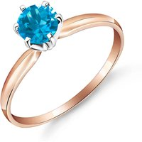 Blue Topaz Crown Solitaire Ring 0.65 ct in 9ct Rose Gold