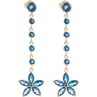 Blue Topaz Daisy Chain Drop Earrings 4.8 ctw in 9ct Gold - Jewellery Gifts
