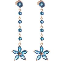 Blue Topaz Daisy Chain Drop Earrings 4.8 ctw in 9ct Rose Gold