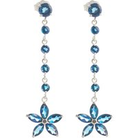 Blue Topaz Daisy Chain Drop Earrings 4.8 ctw in 9ct White Gold