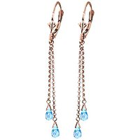Blue Topaz Demi Chain Drop Earrings 2.5 ctw in 9ct Rose Gold