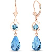 Blue Topaz Drop Earrings 11 ctw in 9ct Rose Gold