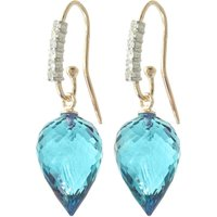 Blue Topaz Drop Earrings 22.68 ctw in 9ct Gold