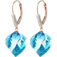 Blue Topaz Drop Earrings 28 ctw in 9ct Rose Gold