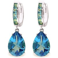 Blue Topaz Droplet Huggie Earrings 13.2 ctw in 9ct White Gold
