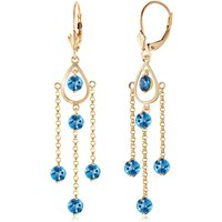 Blue Topaz Faro Drop Earrings 3 ctw in 9ct Gold - Jewellery Gifts