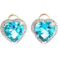Blue Topaz French Clip Halo Earrings 12.88 ctw in 9ct Gold