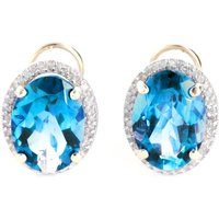Blue Topaz French Clip Halo Earrings 15.16 ctw in 9ct Gold