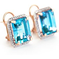 Blue Topaz French Clip Halo Earrings 15.6 ctw in 9ct Rose Gold