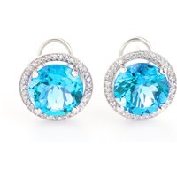 Blue Topaz French Clip Halo Earrings 16 ctw in 9ct White Gold