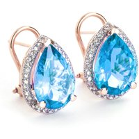 Blue Topaz French Clip Halo Earrings 9.32 ctw in 9ct Rose Gold
