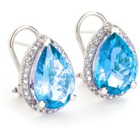 Blue Topaz French Clip Halo Earrings 9.32 ctw in 9ct White Gold