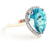 Blue Topaz Halo Ring 4.66 ctw in 9ct Rose Gold