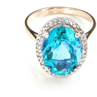 Blue Topaz Halo Ring 7.58 ctw in 9ct Rose Gold