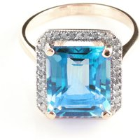 Blue Topaz Halo Ring 7.8 ctw in 9ct Rose Gold