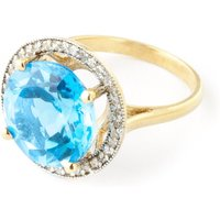 Blue Topaz Halo Ring 8 ctw in 9ct Gold - Halo Gifts