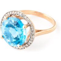 Blue Topaz Halo Ring 8 ctw in 9ct Rose Gold - Halo Gifts