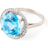 Blue Topaz Halo Ring 8 ctw in 9ct White Gold - Halo Gifts