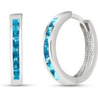 Blue Topaz Huggie Earrings 1.85 ctw in 9ct White Gold