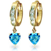 Blue Topaz Huggie Earrings 4.1 ctw in 9ct Gold - Jewellery Gifts