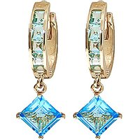 Blue Topaz Huggie Hoop Earrings 4.4 ctw in 9ct Gold - Jewellery Gifts