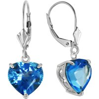 Blue Topaz Large Heart Earrings 12.6 ctw in 9ct White Gold