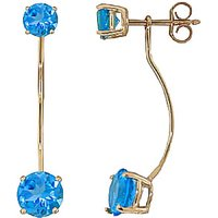 Blue Topaz Lure Drop Earrings 4.3 ctw in 9ct Gold - Jewellery Gifts
