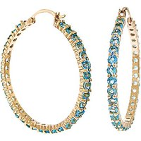 Blue Topaz Metro Hoop Earrings 6 ctw in 9ct Gold - Jewellery Gifts