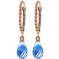 Blue Topaz Plait Stem Drop Earrings 3 ctw in 9ct Rose Gold