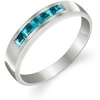 Blue Topaz Princess Prestige Ring 0.6 ctw in 9ct White Gold