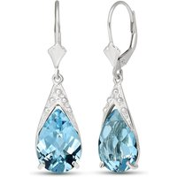 Blue Topaz Snowcap Drop Earrings 12 ctw in 9ct White Gold