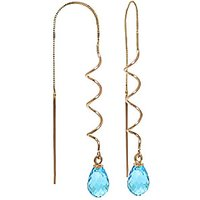 Blue Topaz Spiral Scintilla Earrings 3.3 ctw in 9ct Gold - Jewellery Gifts