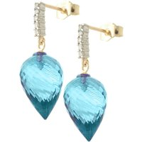 Image of Blue Topaz Stud Earrings 22.65 ctw in 9ct Gold