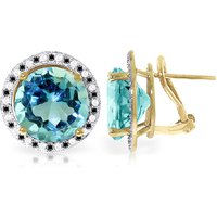Blue Topaz Stud French Clip Earrings 16 ctw in 9ct Gold